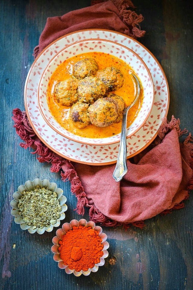 Fish Kofta Curry ( Fish dumplings simmered in a rich creamy sauce )