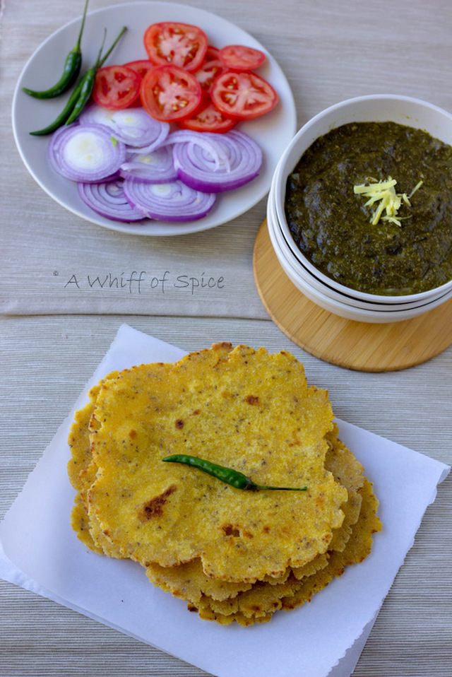 Makki di Roti and Sarsaon da Saag - Unleavened Cornmeal Flatbread with Cooked Mustard Greens