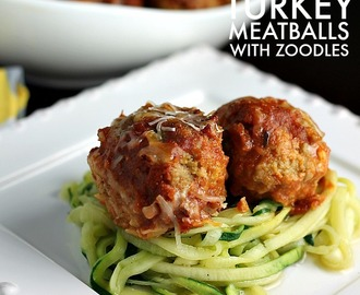 Slow Cooker Cheese Stuffed Turkey Meatballs with Zoodles - Eat Healthy 2016