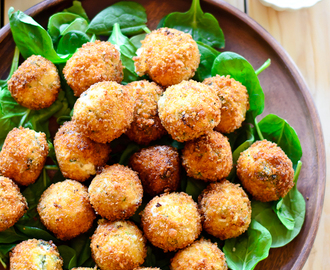 Cheesy Fried Spinach & Artichoke Bites