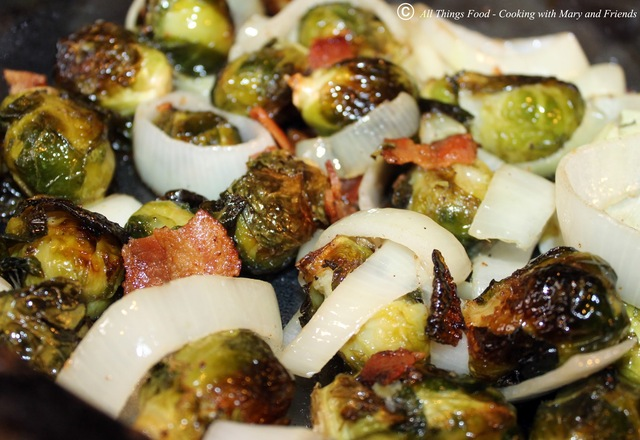Roasted Brussels Sprouts with Bacon and Onion