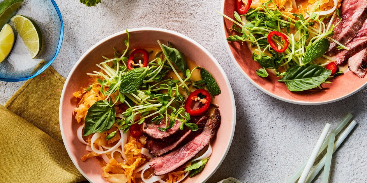 Red Curry Noodle Bowls with Steak and Cabbage