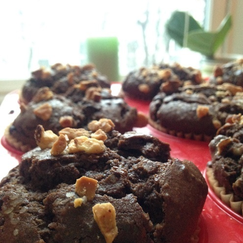 Salted Chocolate Almond Chia Muffins [Dairy-Free]