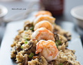 Easy cauliflower fried rice recipe with crispy bacon, prawns and shiitake mushrooms