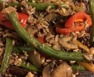"Veggie ""Stir Fry"" Over Lundburg Rice (super yummy and satiating)"