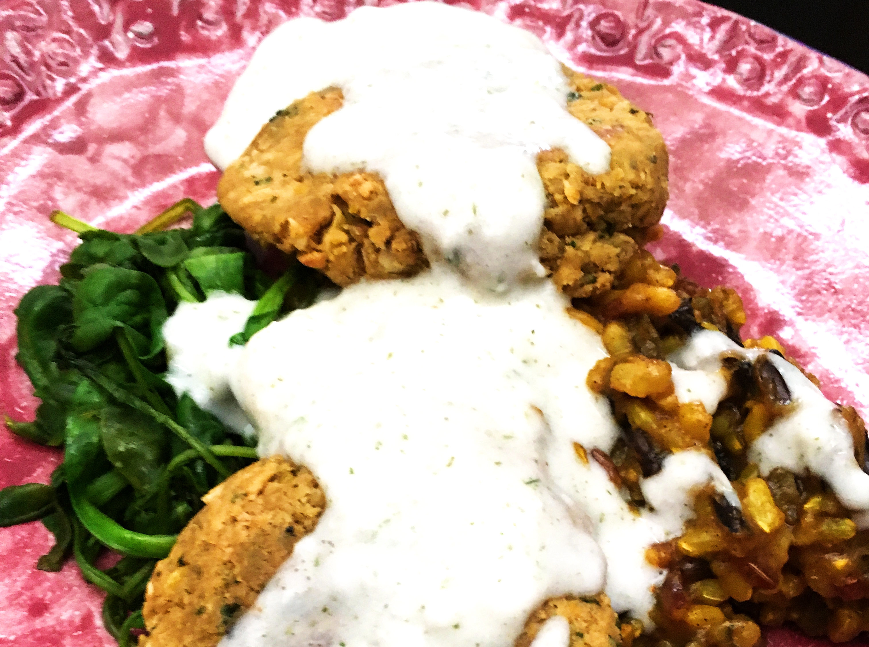 Falafel Patties with Yogurt Sauce + Middle Eastern Wild Rice [vegan]
