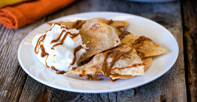 Churro Chips with Whipped Cream and Dulce de Leche
