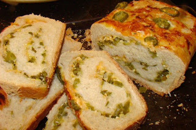 Stuffed Sour Dough Bread with Jalapeno peppers, Green Onions and Cheese