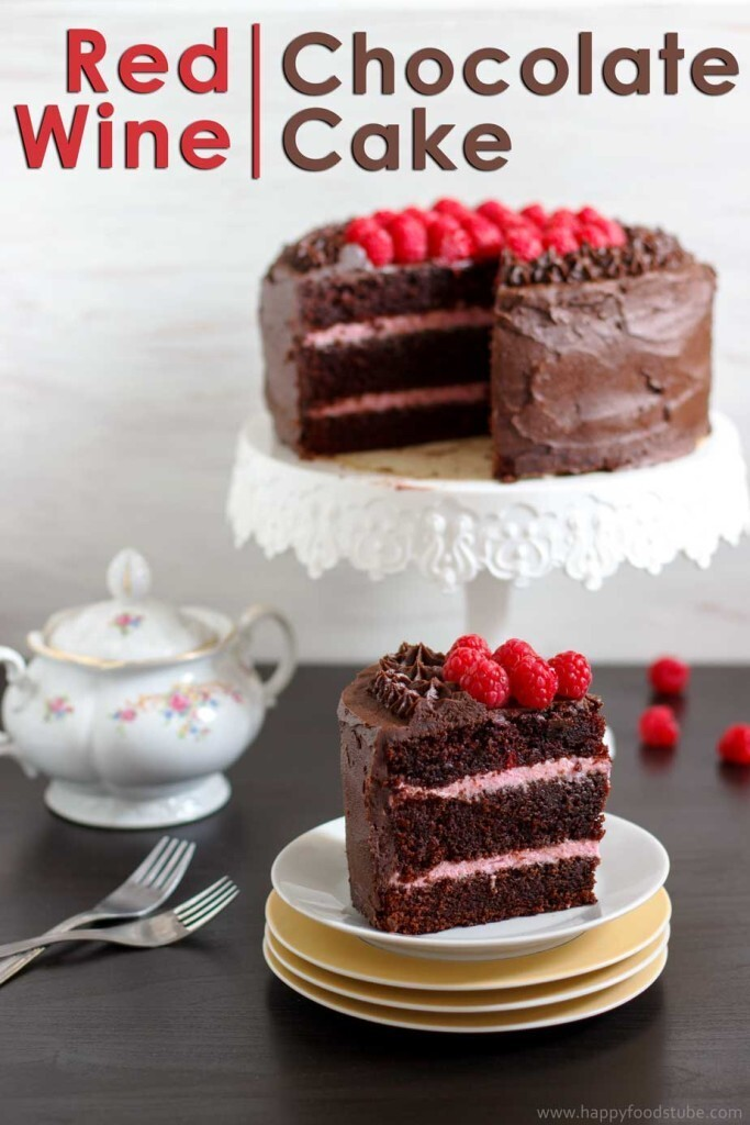 Red Wine Chocolate Raspberry Cake – Filling, Icing, Decorating