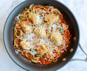 Oven-Baked Chicken Parmesan Bites Over Zoodles