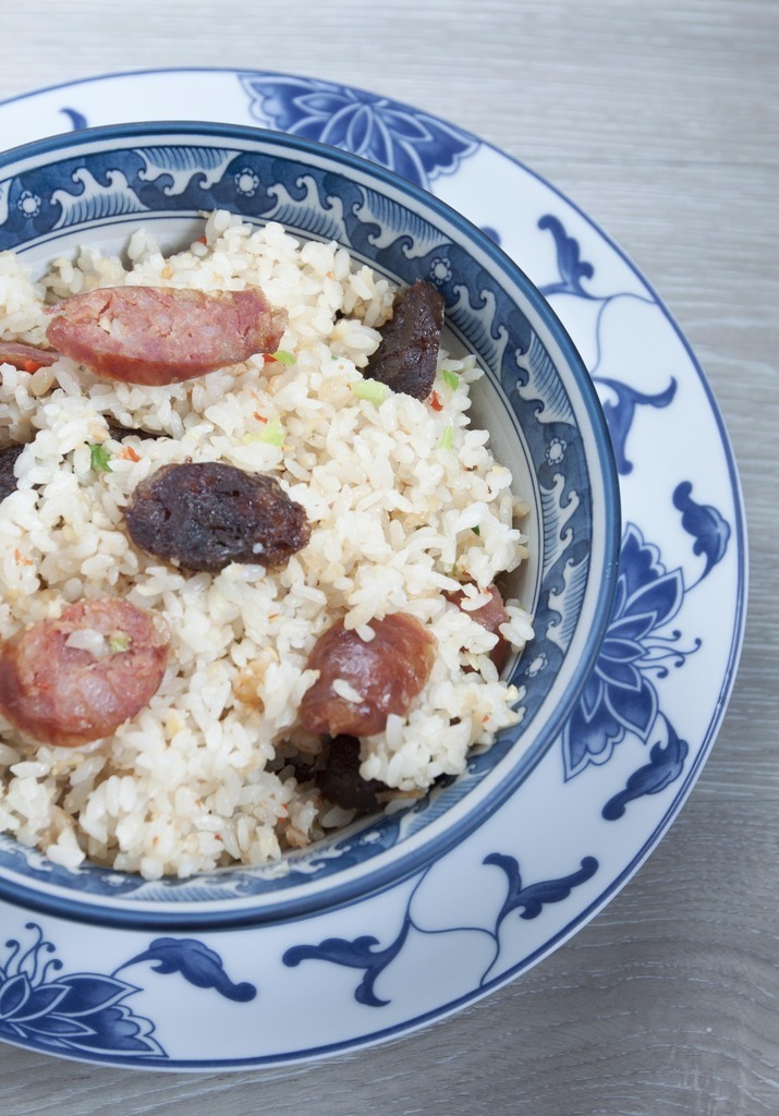 Chinese Sausage Rice - Double the Pleasure Using Spicy Sausage and Goose Liver Sausage