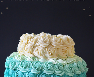 Ombre Rosette cake - Eggless vanilla cake with Caramel frosting