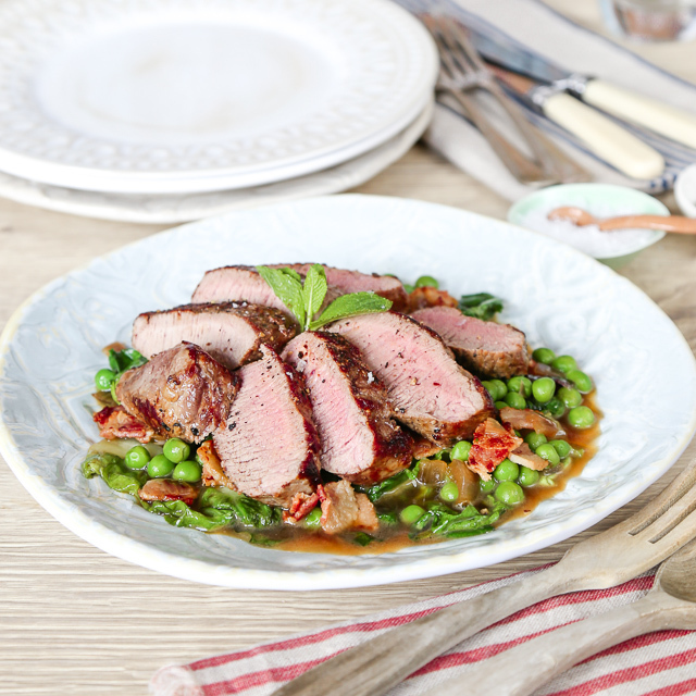 Bryn William's Loin of Welsh Lamb with Peas & Bacon
