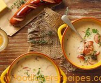 CHEESY SOUP WITH GERMAN SAUSAGES