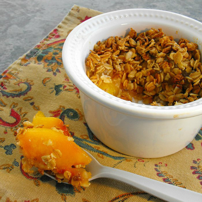 Individual Peach Crisps made with Granola