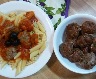 Mostaccioli Pasta with Buffalo Meatballs in Red Sauce