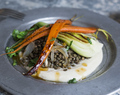 Maple Orange Glazed Carrots + Lentils + Sunchoke Cream