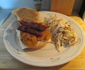 Chicken, Turkey Bacon, and Swiss Sandwich w/ Hash Browns
