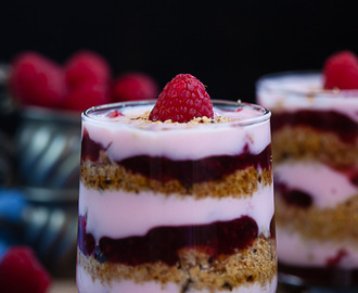 Oatmeal raisin cookies and Raspeberry compote parfait