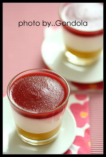 Yogurt Panna Cotta with Peach and Strawberry Puree