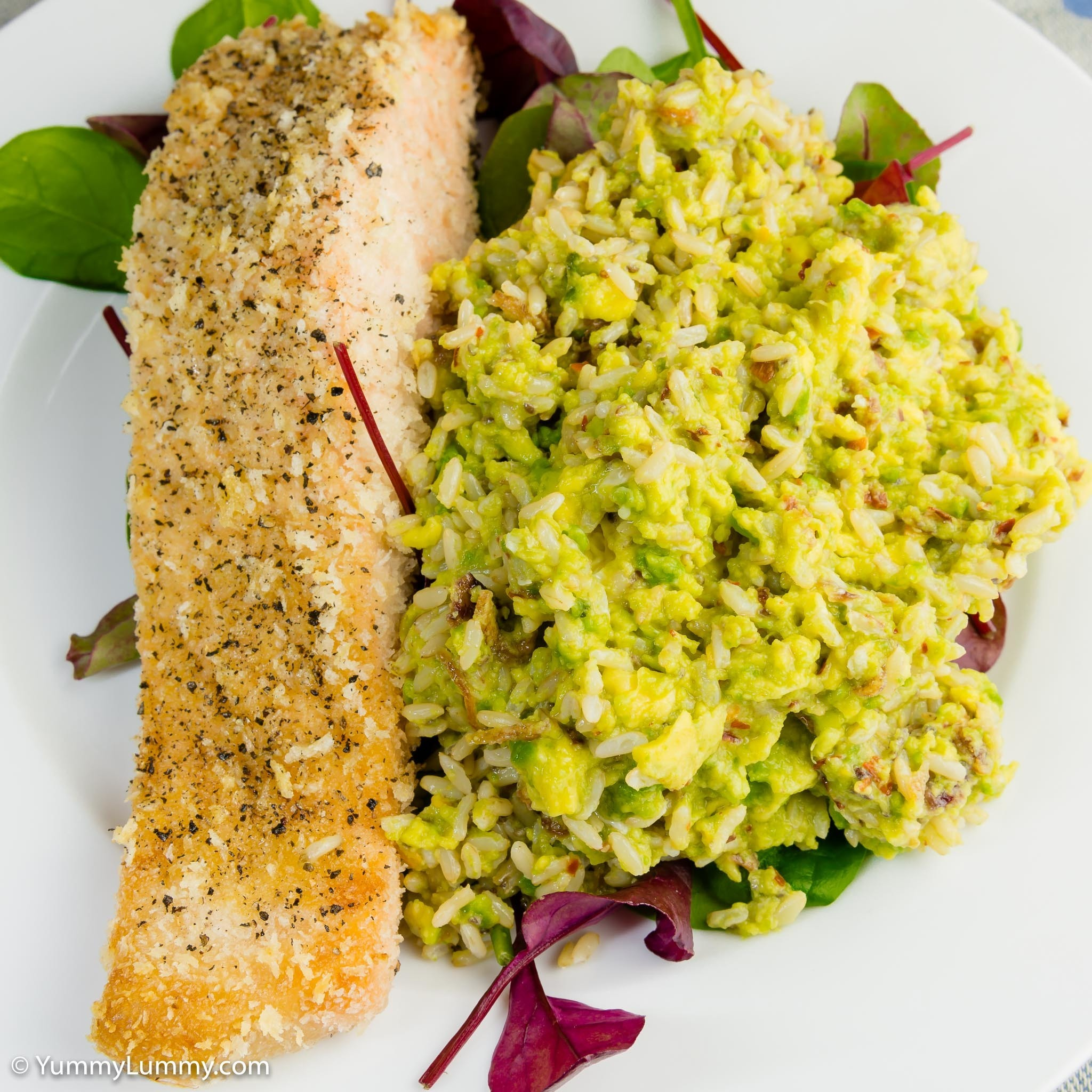 Salmon and hot and spicy avocado rice with chia