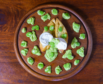 FAVA BEANS BRUSCHETTA WITH BURRATA