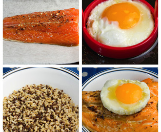 Delicious baked salmon with rice, quinoa and a fried egg