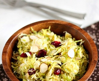 Brussels Sprouts Salad with Dried Cranberries, Almonds and Parmesan