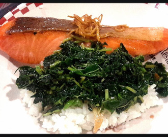 """Salmon spicy terriyaki with stir fried spinach in oyster saurce"""