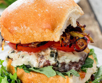 Blue Cheese and Crispy Fried Onion Burgers