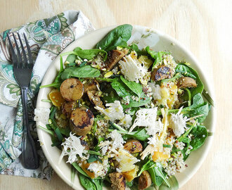 greens + quinoa salad // chao cheese crisps