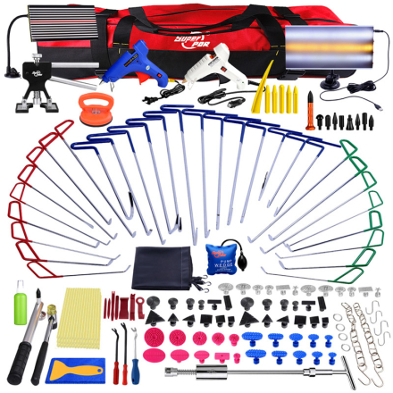 PDR Paintless Dent Repair Tools Push Rod Hooks Crowbar tool kit LED Light Reflector Board Glue Puller PDR Dent Removal tool kit