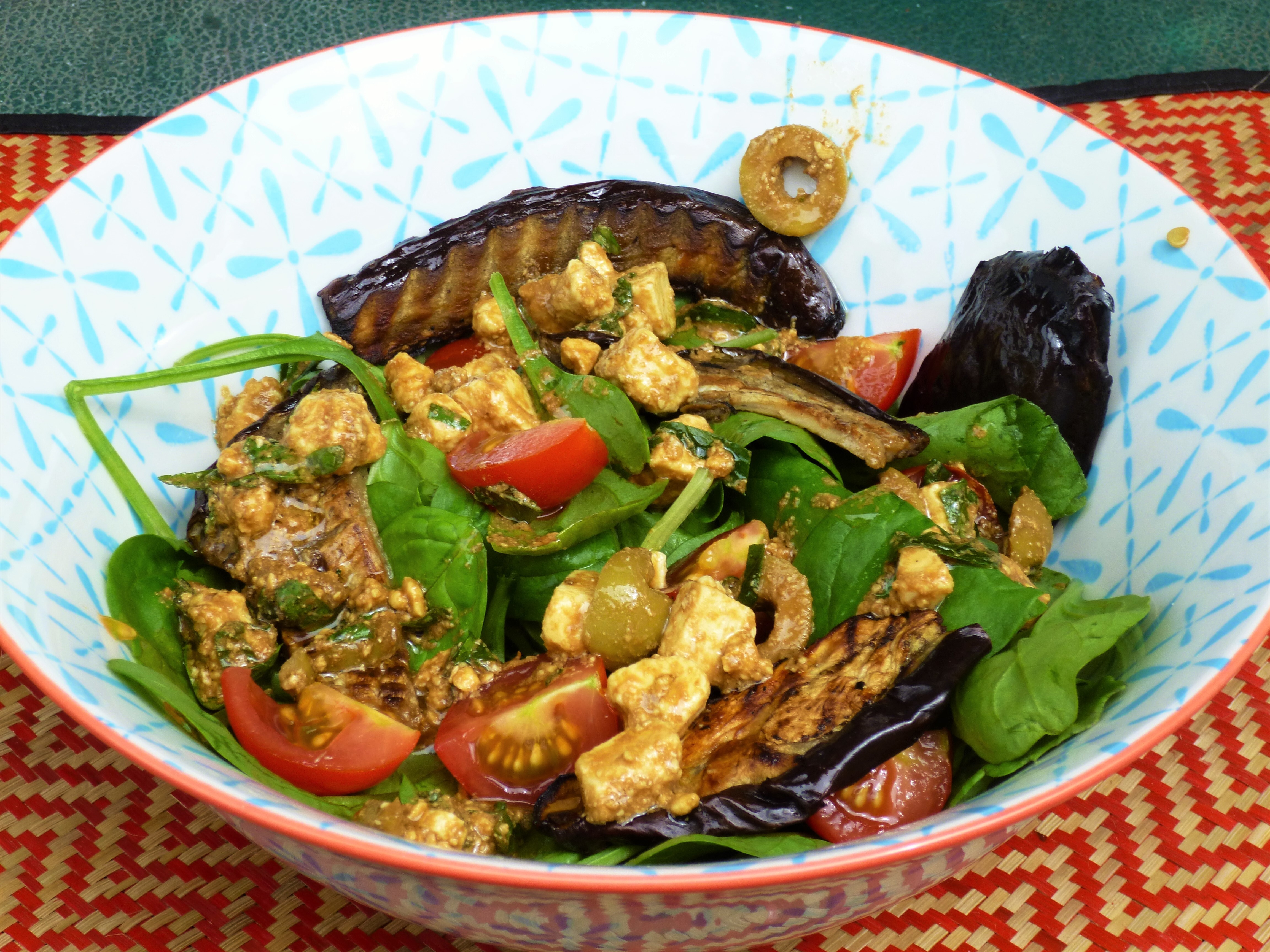 Roasted Eggplant/Aubergine and Spinach Salad with a Feta, Olive, Lemon and Herb Dressing Recipe