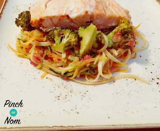 Low Syn Sweet Chilli Salmon with Linguini, Courgette and Sweet Potato Spaghetti