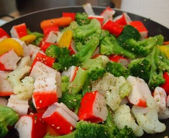 Surimi or crab meat and express veggies