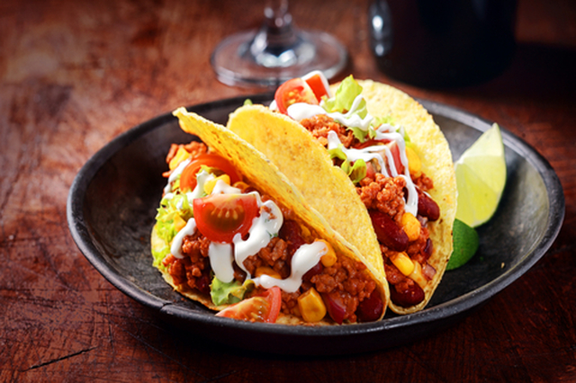 Tex-Mex Spicy Beef Tacos with Sour Cream Sauce