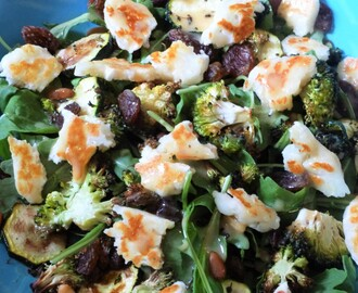 Baked Courgette, Broccoli and Pine Nut Salad with Halloumi and Sultana's Recipe