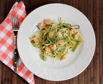 Spiralized Zucchini, Fennel and Onion with Langostino Tails #OXOSpiralizer