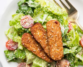 Cashew-Less Vegan Caesar Salad with Baked Tempeh Strips