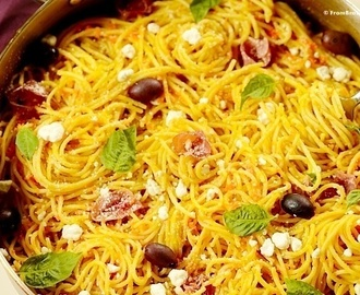 Carrot Spaghetti with Prosciutto and Goat Cheese