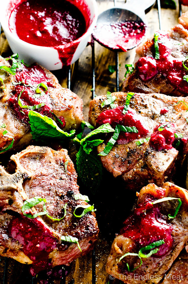 Seared Lamb Chops with Raspberry Marsala Sauce