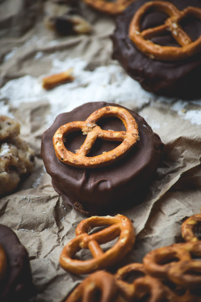 Chocolate Covered Caramel Cookie Dough Pretzel Cups