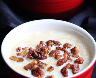 Sweetened Vermicelli topped with Pecan Praline- Easy Payasam with Praline