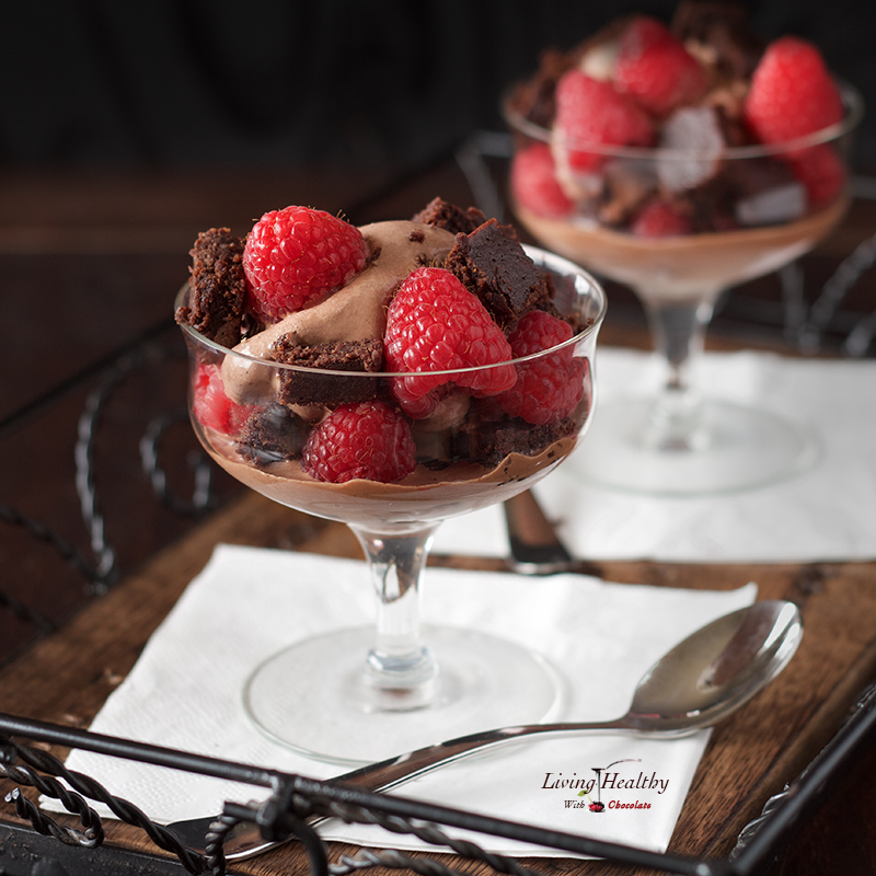 Raspberry-Chocolate Brownie Ice Cream Parfaits (gluten free, dairy free, Paleo)