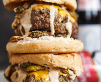 The Game Day Burger with Fried Pickles and Burger Bomb Sauce