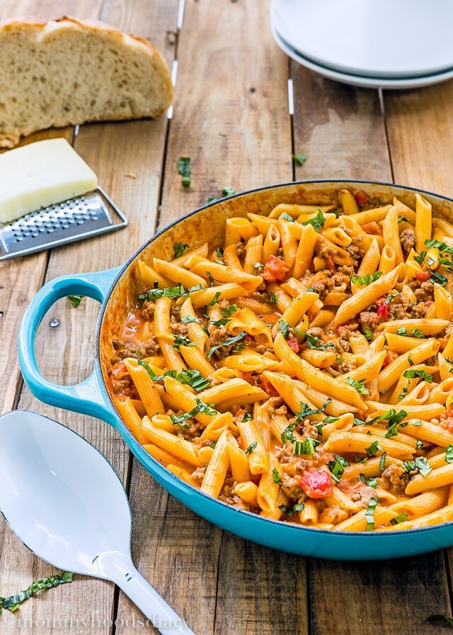 Penne with Sausage and Spicy Cream Tomato Sauce