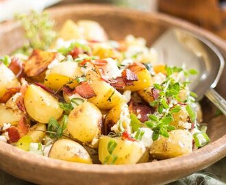 Warm Potato Salad with Creamy Goat Cheese and Crispy Bacon