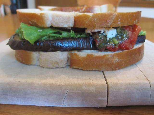 Grilled Eggplant and Roasted Red Pepper Sandwich with Herbed Goat Cheese