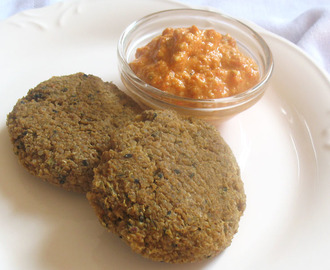 Quinoa Chickpea Flour Falafel with Mung Beans and Roasted Red Pepper Sauce
