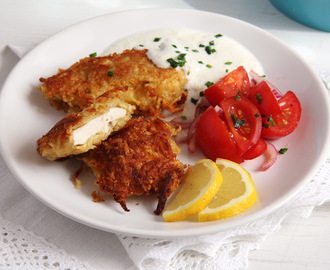 Chicken Schnitzel with Potato Parmesan Crust